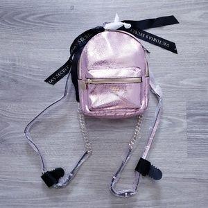 Victoria's Secret Metallic Rose Gold Mini Backpack